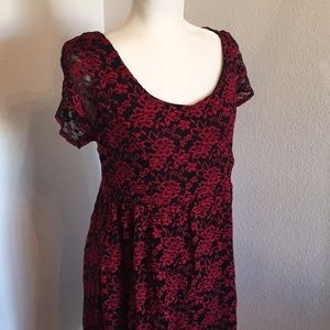 NWT Torrid Red & Black Lace Skater Dress Size 1